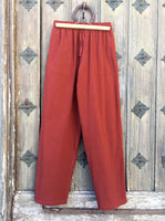 Dark Orange Cotton Drawstring Pants