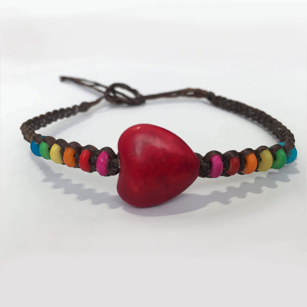 Big heart and rainbow bead macrame bracelet