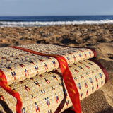 Natural Reed Beach Mat with Red Trim