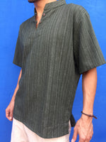 Olive Short Sleeve Cotton Shirt Line Pattern