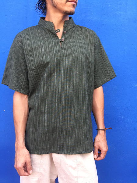 Short Sleeve Cotton Shirt Line Pattern