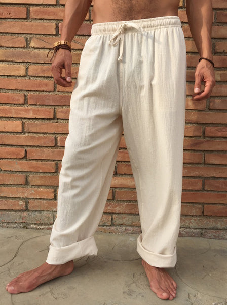 Natural Cotton Drawstring Pants