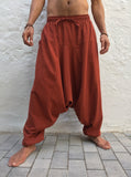 Harem Pants Cotton with Pockets Dark Orange