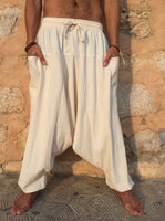 Loose Cotton Pants with Pockets Natural