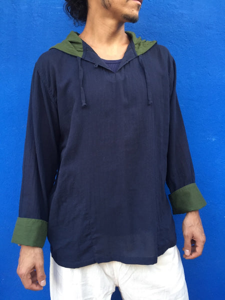 Long Sleeve Hooded Top Midnight Blue with Olive