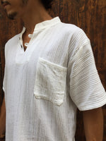 Short Sleeve Textured Cotton Shirt with Coconut Buttons