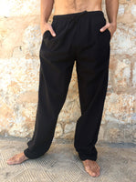 Black Cotton Drawstring Pants