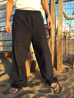 Cotton Drawstring Pants Black Pinstripe Pattern