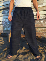 Cotton Drawstring pants with Black Line Pattern