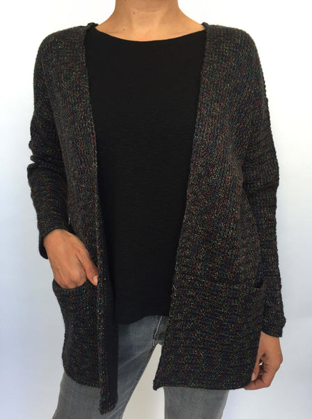 Black Mottled Sparkly Knitted Cardi