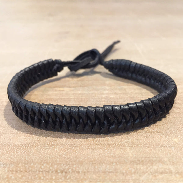Black Plaited Leather Band