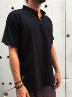 Black Short Sleeve Cotton Shirt with Coconut Buttons