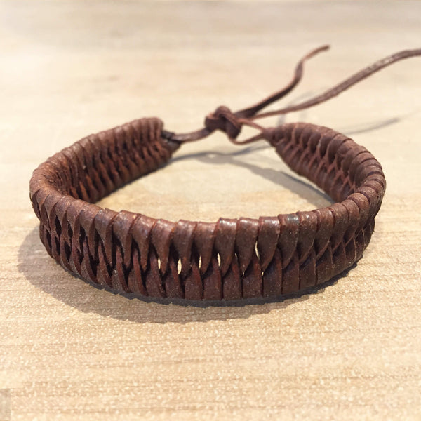 Brown Plaited Leather Band