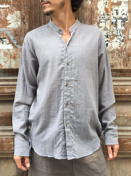 Coconut Button Light Cotton Shirt in Stone Grey