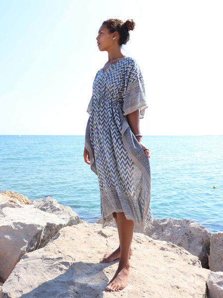 Cotton Kaftan dress with blue Woodblock print