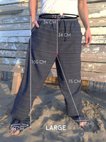 Cotton Drawstring pants with Dark Blue Line Pattern