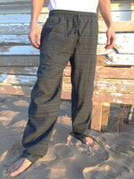 Cotton Drawstring pants with Dark Gray Line Pattern