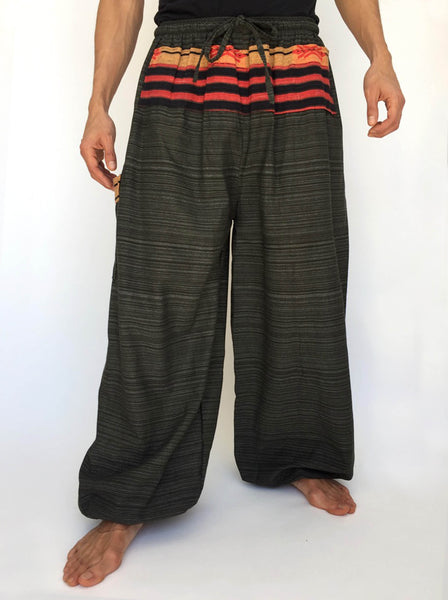Dark Green Drawstring Pants with Thai Handwoven Cotton Trim