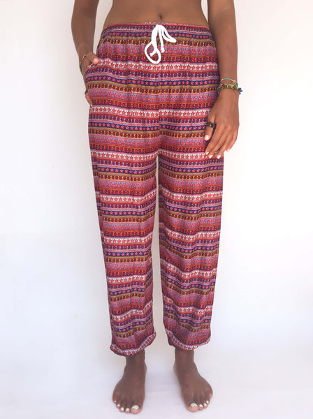 Drawstring pants with flower pattern