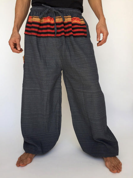 Gray Drawstring Pants with Thai Handwoven Cotton Trim
