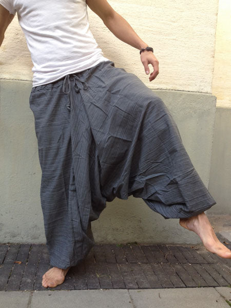 Gray Line Pattern Samurai Pants