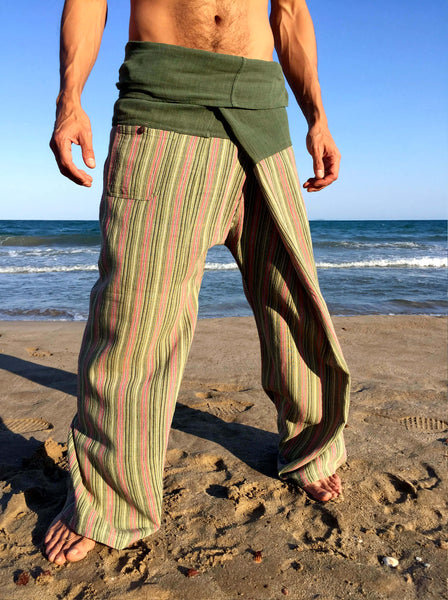 Raw Cotton Thai Fisherman Pants with Pinstripe Pattern