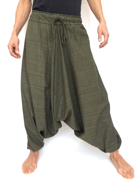 Green Line Pattern Samurai Pants