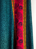 Turquoise Green Wrap Skirt with Paisley Pattern