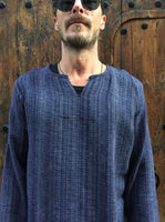 Hand Woven Long Sleeve Kurta Top Midnight Blue