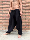 Low Cut Cotton Pants with Pockets Black