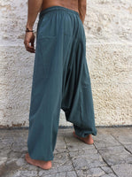 Harem Pants Cotton with Pockets Dusty Blue