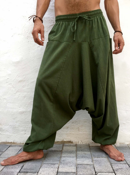Harem Pants Cotton with Pockets Green