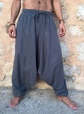 Low Crotch Cotton Pants with Pockets Grey