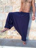 Loose Cotton Pants with Pockets Midnight Blue