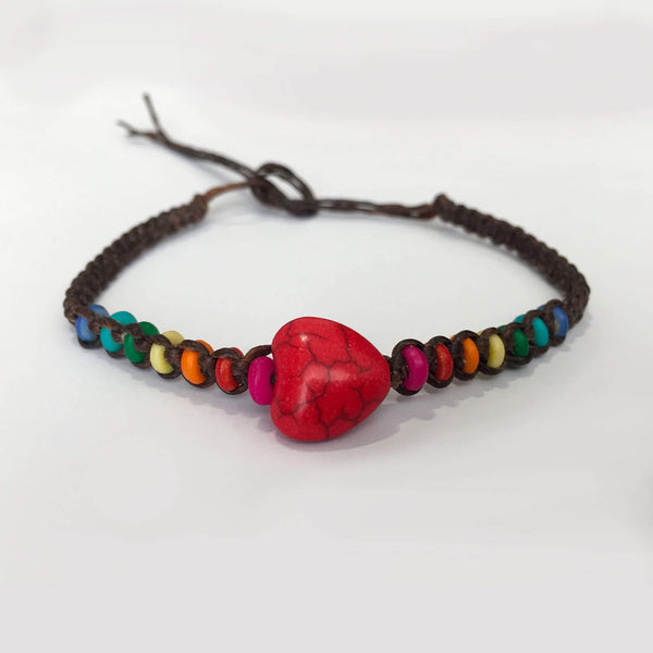 Heart and rainbow bead macrame bracelet