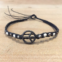 Hematite Woven Bracelet with Peace Symbol
