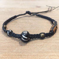 Hematite Woven Bracelet with Stone and Batik Bone