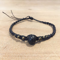 Hematite Woven Bracelet with Black Stone