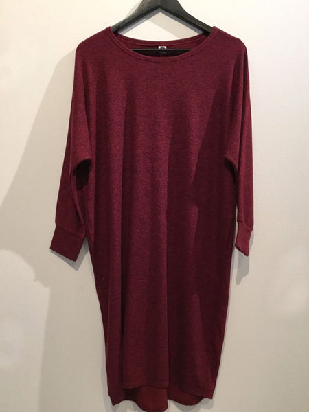 Soft Stretchy Dress Red Wine