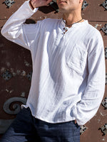 Long Sleeve Textured Cotton Shirt with Coconut Buttons