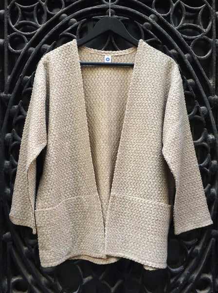 Mottled Knitted Jacket Camel with Blue Highlights