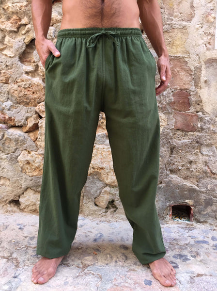 Olive Green Cotton Drawstring Pants