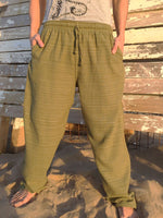 Cotton Drawstring pants with Olive Line Pattern