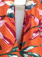 Orange Floral Print Kaftan Dress