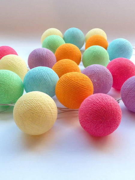 Pastel Mix Cotton Ball Lights