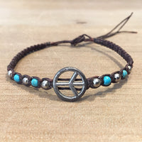Peace Symbol Wax Cord Braided Bracelet