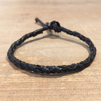 Plaited Black Leather Bracelet