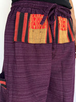 Purple Drawstring Pants with Thai Handwoven Cotton Trim