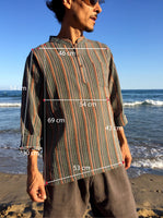 Raw Cotton Pinstripe Kurta Orange Tones
