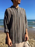 Raw Cotton Pinstripe Kurta Brown Tones